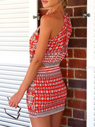 Red Halter Printed Cutout Sheath Summer Dress