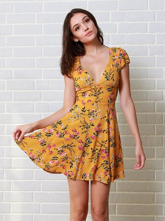 Mustard Plunge Short Sleeve Floral Dress