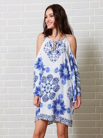Blue Long Sleeve Printed Cold Shoulder Dress