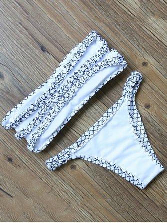 White-black Plaid Padded Bandeau Bikini