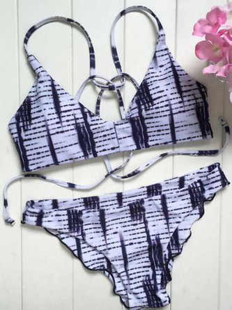 White Ombre Padded Straped Bikini