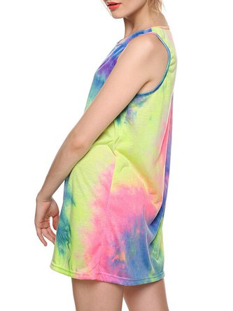 Multicolor Sleeveless Tie-Dye A-line Girly Mini Dress