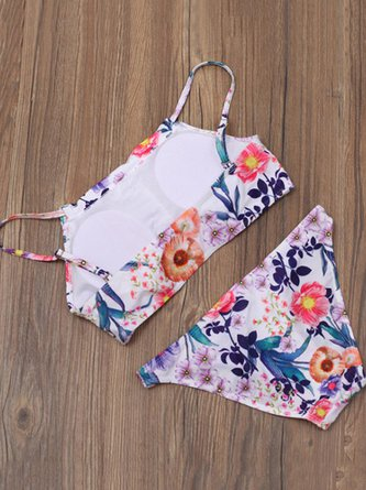 Straped Printed Wireless Nylon Floral Bikini