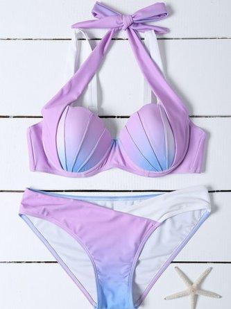 Lavender Underwire Ombre Halter Bikini