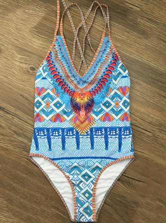 Blue Tribal Straped One-piece
