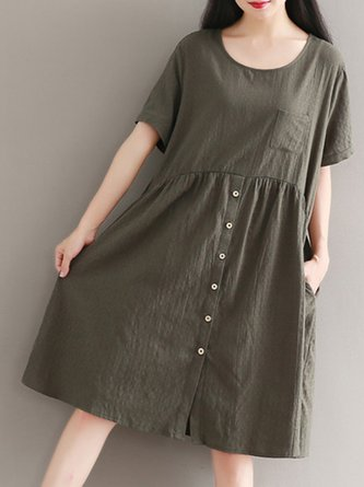 Army Green Buttoned Solid Simple Midi Dress