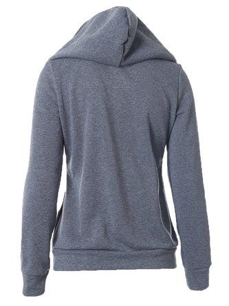 Gray Long Sleeve Zipper Solid Hoodie Coat