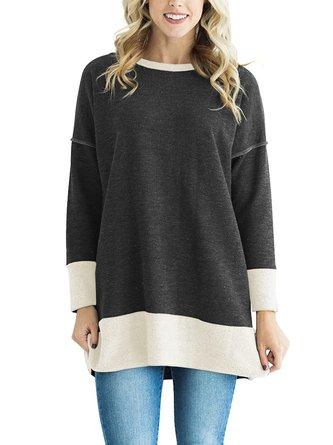 Crew Neck Long Sleeve Casual Color-block Cotton-blend Blouses & Shirt