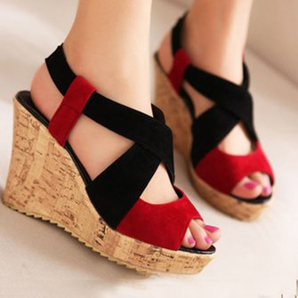 Wedge Heel Suede Color Block Sandals