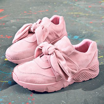 Faux Suede Bowknot Platform Slip On Sneakers