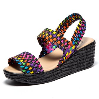 Peep Toe Knitted Fabric Wedge Heel Sandals