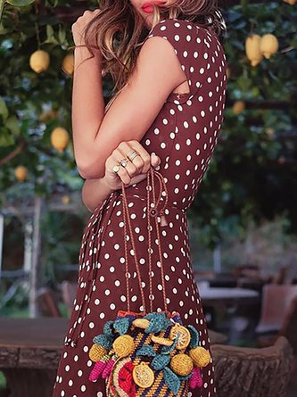 V neck   Women Daily Boho Short Sleeve Paneled Polka Dots Floral Dress