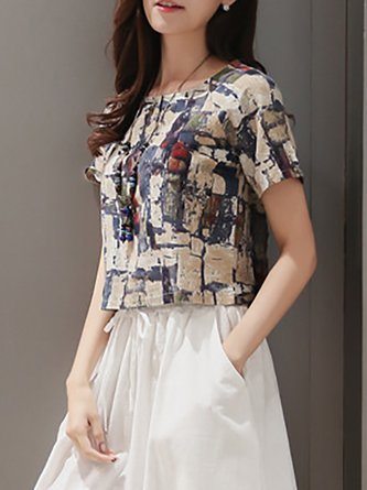 Women Basic Short Sleeve Linen Bow Abstract Casual Dress