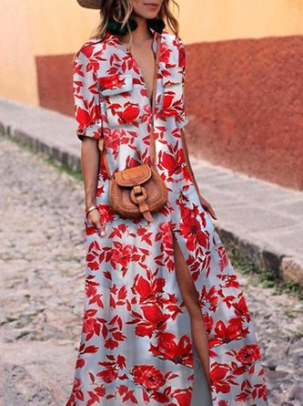 Shawl Collar Red Swing Women Daytime Half Sleeve Printed Floral Floral Dress