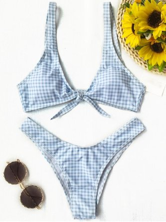 Bow Knot Padded Plaid Plunge Neck Bikini