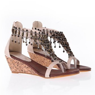 Ethnic Style Wedge Heel Holiday Sandals Wedges For Women