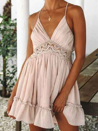 V neck   Women Beach Spaghetti Elegant  Summer Dress