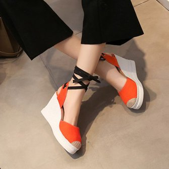 Casual Lace-up Canvas Wedge Heel Sandals