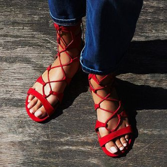 Lace Up Daily Nubuck Flat Heel Sandals