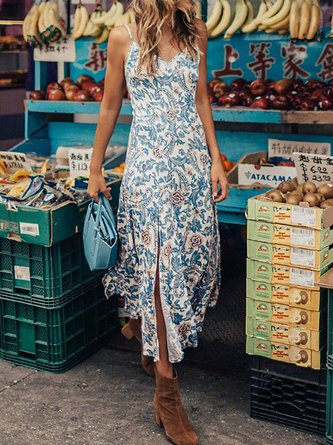 V neck Blue Swing Women Going out Spaghetti Cotton-blend Floral Dress