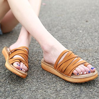Women PU Slippers Casual Comfort Flip Flop Shoes