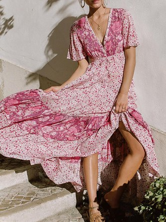 Pink Swing Women Daily Vintage Short Sleeve Floral Floral Dress
