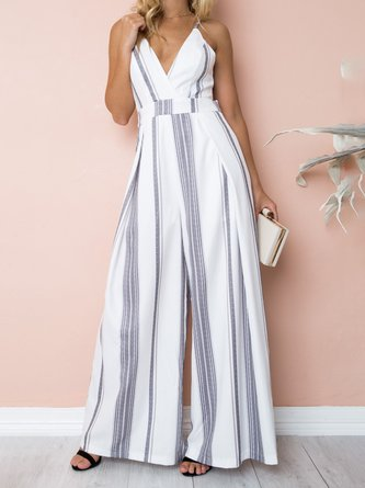 Spaghetti Basic V neck Striped Summer Jumpsuit