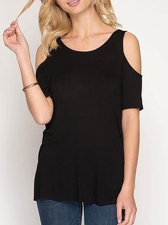 Short Sleeve Cold Shoulder Backless T-Shirt