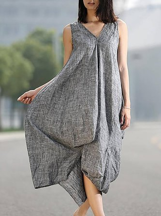 Gray Shift Women Daily Casual Sleeveless  Casual Dress