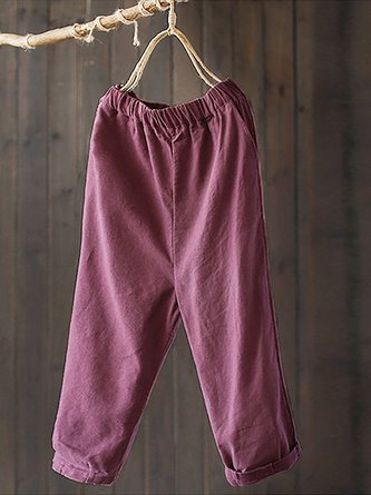 Solid Casual Plus Size Linen Cotton Pockets Pants