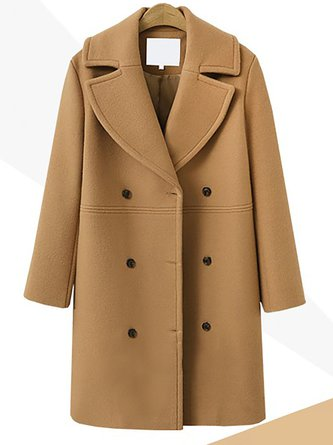 Cotton Elegant Paneled Winter Wool Solid Coat