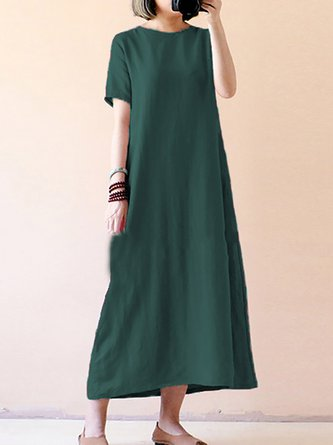 Long with Short Sleeves Casual Dresses