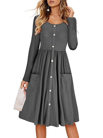 Swing Women Daily Long Sleeve Statement Cotton Blend Paneled Elegant Dress
