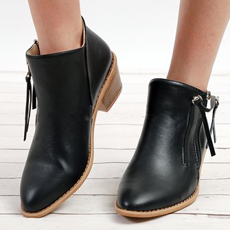Women PU Ankle Booties Casual Comfort Plus Size Shoes