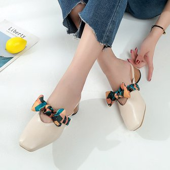 Women PU Slippers Casual Comfort Low Heel Shoes