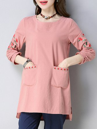 Elegant Crew Neck Linen Floral Embroidered Plus Size Blouse