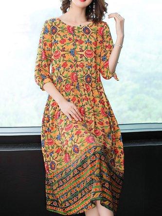 0de2cbca1884 Orange A-line Women Daily Half Sleeve Elegant Paneled Floral Elegant Dress