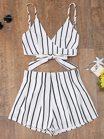 White Striped Cami Wrap Top With Shorts