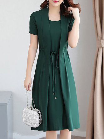 Women Short Sleeve  Solid Elegant Dress