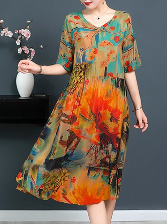 Swing Women Half Sleeve Printed Floral Elegant Dress