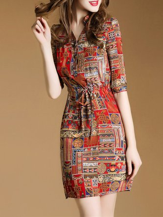 Stand Collar Red Women Date Half Sleeve Printed Tribal Casual Dress