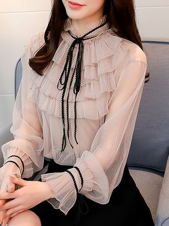 Apricot See-through Look Balloon Sleeve Plus Size Tie-neck Sweet Blouse