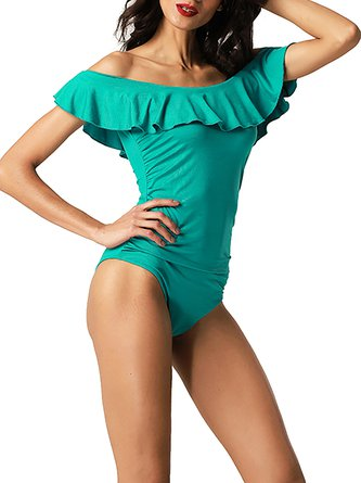Ruffles Off Shoulder Solid One-piece