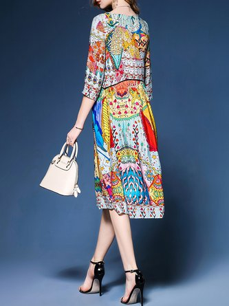 Multicolor Shift Women Date Elegant 3/4 Sleeve Abstract Elegant Dress