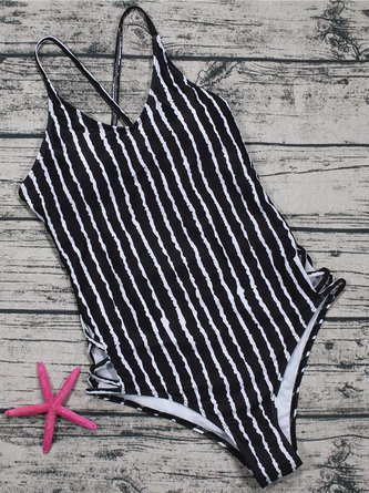 Black Lace-up Stripes One-piece