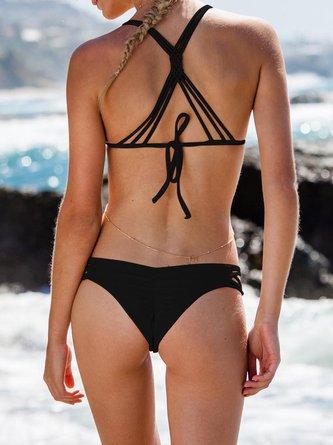Solid Triangle Straped Padded Wireless Bikini