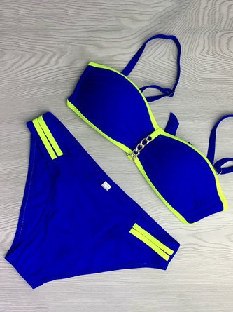 Royal Blue Color-block Straped Wireless Bikini