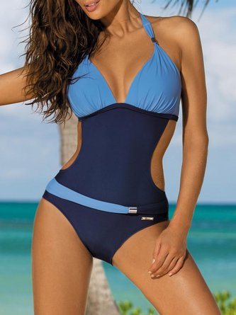 Halter Padded Wireless Color-block One-piece