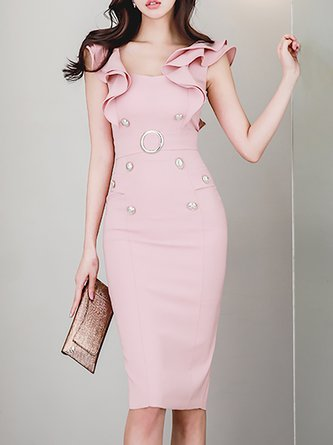 Bodycon Women Daily Sleeveless Vintage Buttoned  Elegant Dress