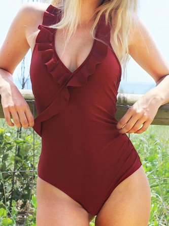 Burgundy Solid Ruffles Wrap Halter One-piece